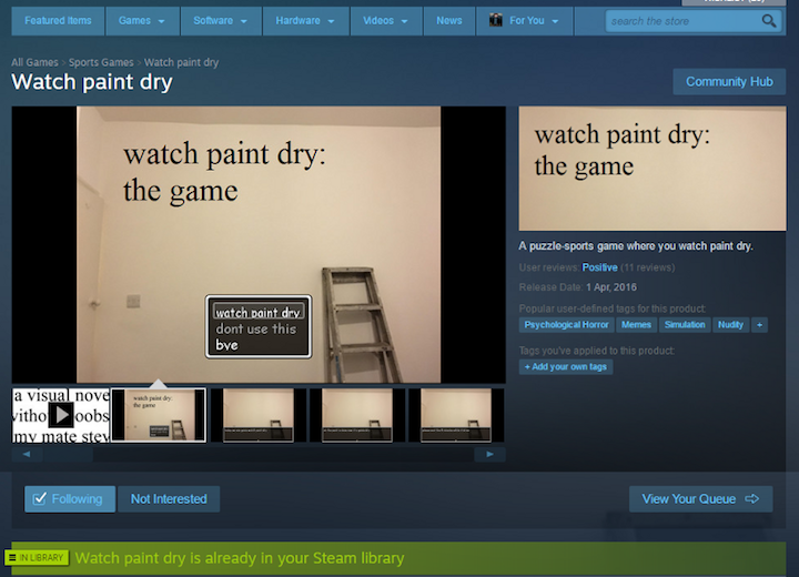 Watch Paint Dry Steam