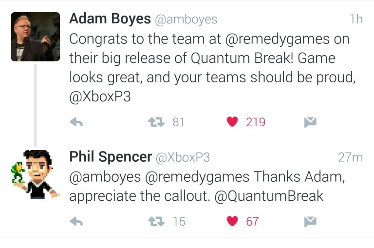 PlayStation VP Adam Boyes congrats Xbox for Quantum Break