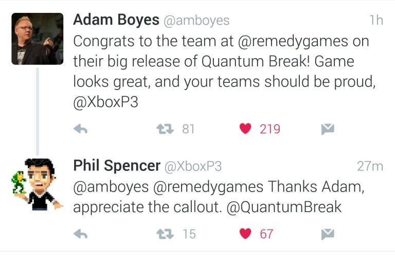 PlayStation VP Adam Boyes congrats Xbox for Quantum Break