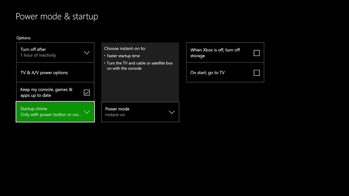 Xbox One Turn off startup sound