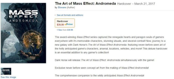 The Art of Mass Effect Andromeda Leaked Date