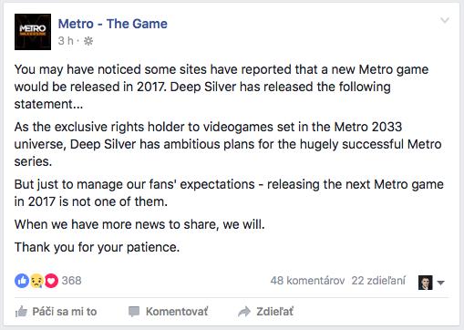 Metro 2035 Deep Silver Announcement