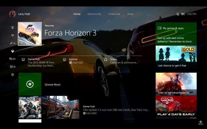 Xbox Creators Update Home