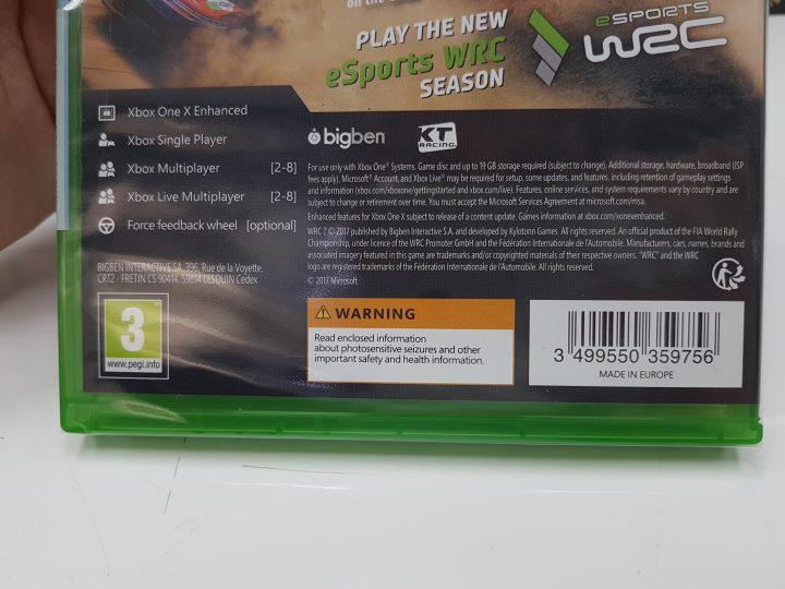 WRC7 Xbox One X Enhanced Rear Packaging