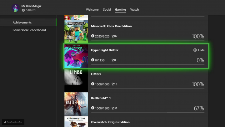 Xbox One Achievement Hide
