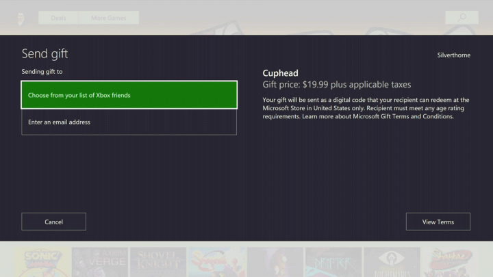 Xbox Store Game Gifting