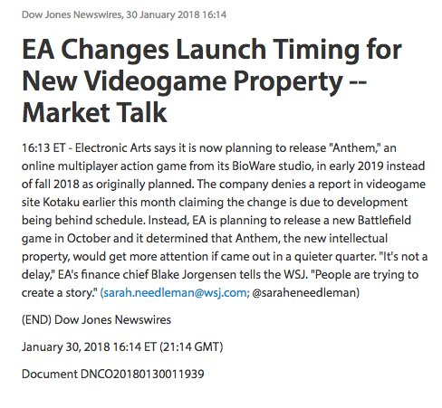 EA Anthem Delay Early 2019