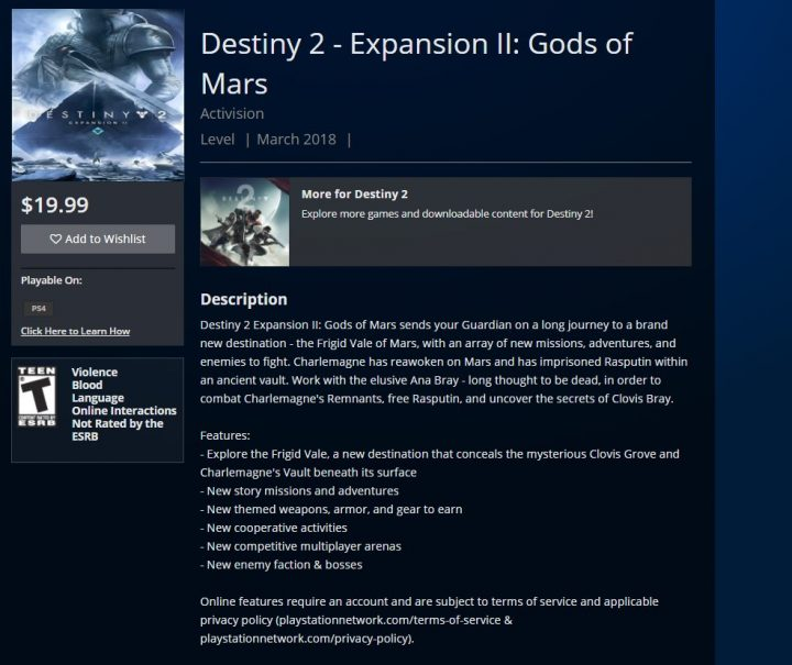 Destiny 2 Gods of Mars Expansion Leak