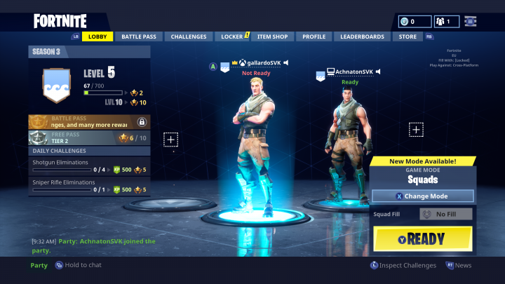 Fortnite Cross-Play Lobby