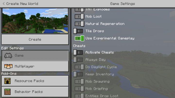 Minecraft Experimental Gameplay