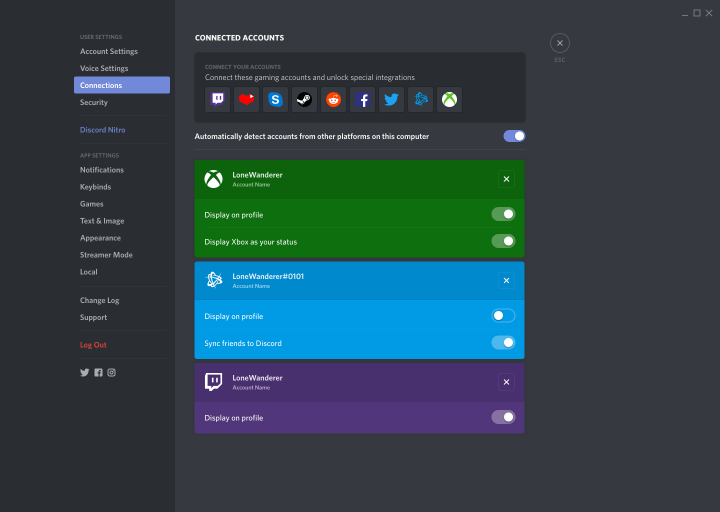 Discord User Settings Connections