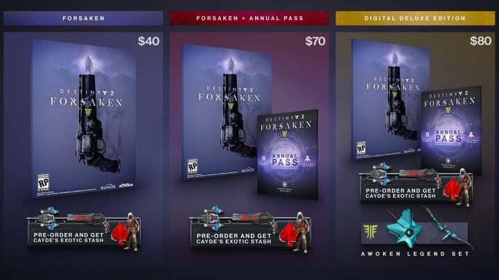 Destiny 2 Forsaken Pricing and Editions