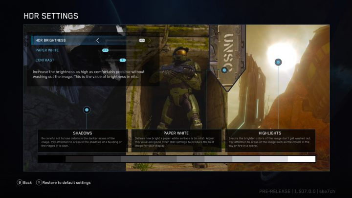 Halo The Master Chief Collection HDR Settings