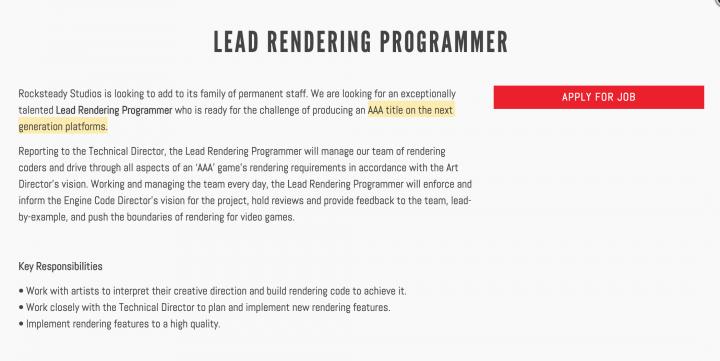 Lead Rendering Programmer Rocksteady Studios