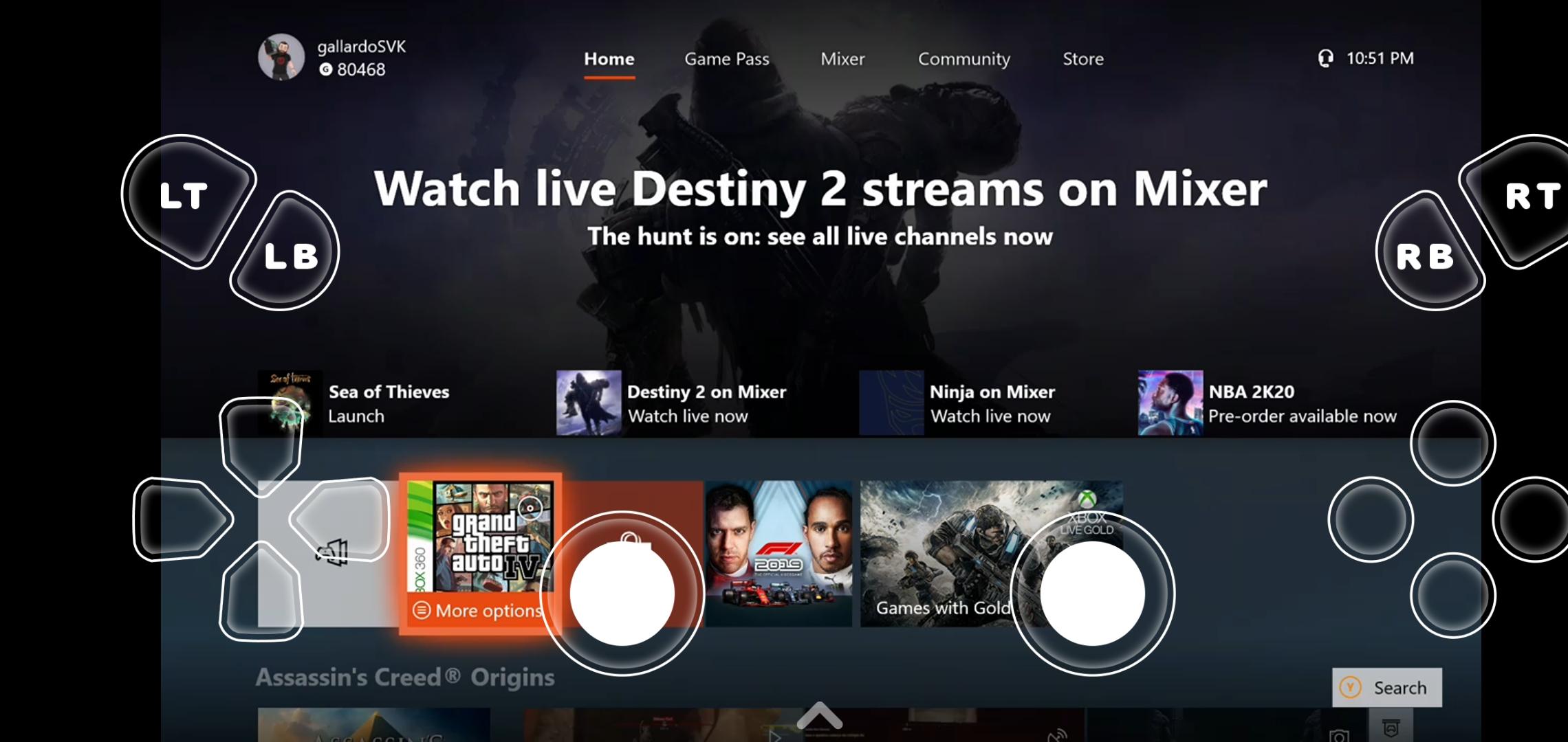 OneCast Xbox Dashboard