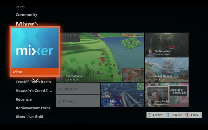 Xbox One Dashboard 2020 vymazat mixer remove mixer