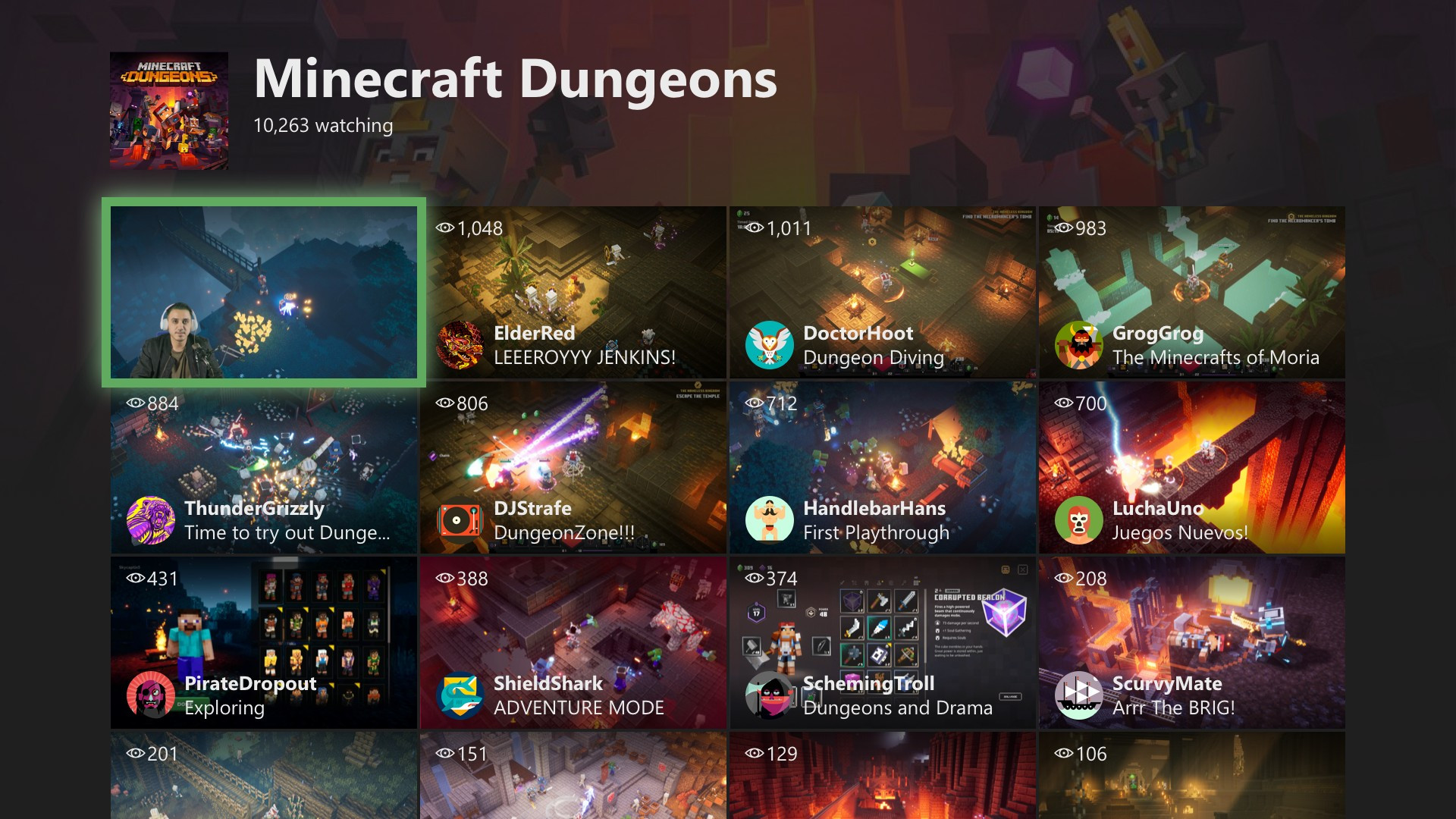 Xbox One May 2020 Update Mixer Homepage
